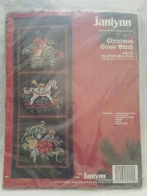 1992 Janlynn Yuletide Bell Pull 80-111 Christmas Cross Stitch With Hanger Rods • 17.88£