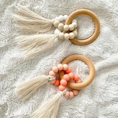 £3.99 • Buy Baby Teething Chew Silicone Beads Rattles Toys Tassels Wooden Ring Stroller Toys
