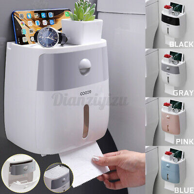 Waterproof  Wall Mounted Toilet Paper Holder Roll Tissue Storage Box With Drawer • 12.66£