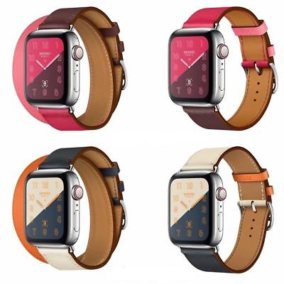 £9.70 • Buy UK For Apple Watch Series 5 4 3 2 1 Leather Watch Double Tour Band Herme Strap