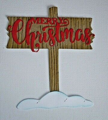 5 X Wooden Sign And Snow Die Cut Card Toppers Great For Christmas  • 1.99£