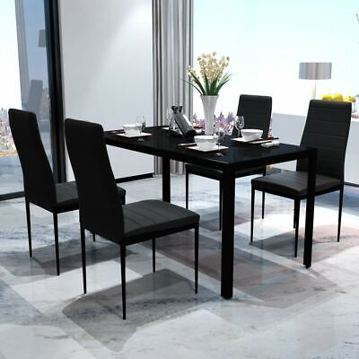 AU262.95 • Buy 5 Pcs Modern Dining Table And Chairs Set Glass Top 4 Seater Faux Leather Seat