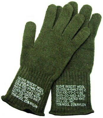 $9.99 • Buy Military Issued OD Green Wool Glove Liners-NEW