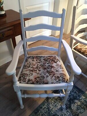 6 French Chateau  Style Painted Shabby Chic Dining Chairs (inc 2 Carvers) • 195£
