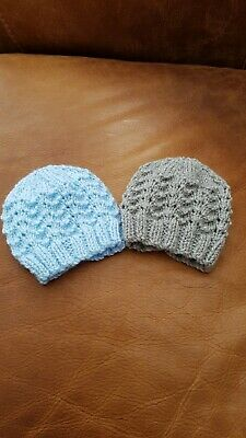 Newborn Baby Boy Hand Knitted Hats In Blue & Grey • 4.95£
