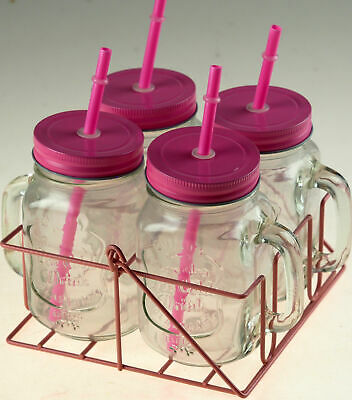 Set Of 4 Pink Mason Jars Drinking Cups With Lid And Straw In Carry Case Holder • 12.99£