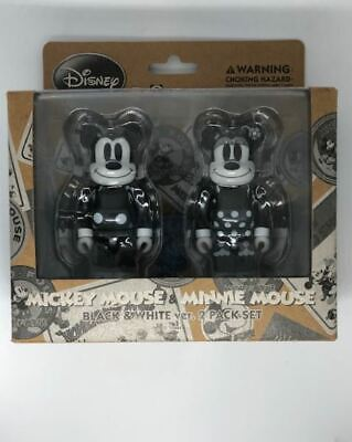 $99.99 • Buy Medicom Bearbrick 100% Mickey Mouse & Minnie Mouse Black & White Ver. 2 Pack Set
