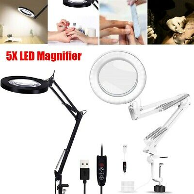 LED Desk Lamp 5X Magnifier Glass With Light Stand Clamp Beauty Magnifying Lamp • 18.59£