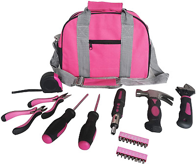 Ladies Pink Tool Kit Tool Bag DIY Set Includes Pink Hammer, Pink Pliers, Pink In • 23.98£