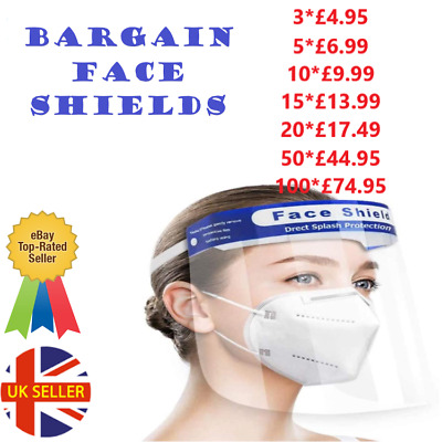 FULL FACE SHIELD VISOR PPE CLEAR PLASTIC SAFETY MASK UK 1x 2x 3x 4x 5x 10x 20x  • 10.99£