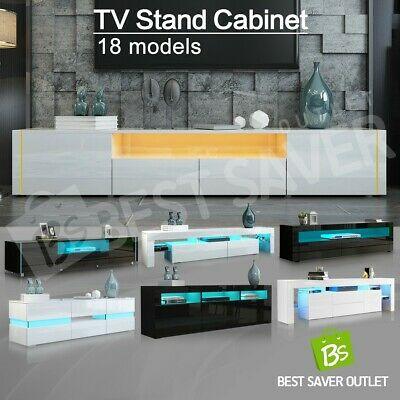 AU229.75 • Buy High Gloss TV Stand Wooden Entertainment Unit Cabinet Storage W/RGB LED WH/BK