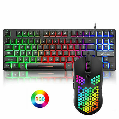 AU37.59 • Buy Wired 87 Keys Gaming Keyboard Set Rainbow Backlit + RGB Gaming Mouse For PC PS4