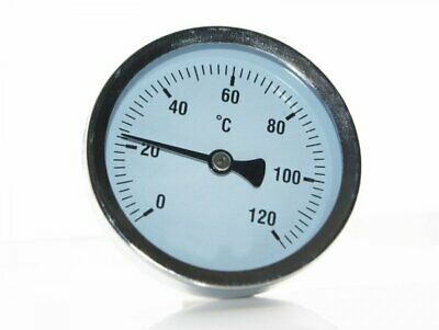 63mm Dial 0 To 120c Back Stem Thermometer With  Brass 1/2  Bspt Thermopocket • 7.55£