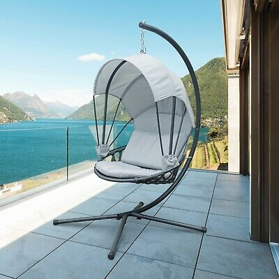 Jarder Luna Egg Chair | Hanging Swing Seat | Patio Garden Outdoor | Light Grey  • 199.99£
