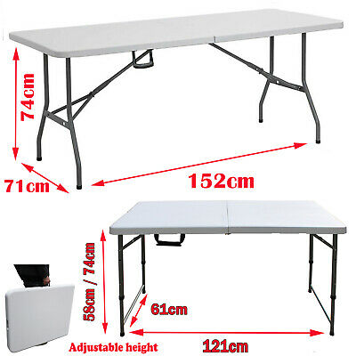 Heavy Duty Folding Table 6ft Portable Plastic Camping 5ft Picnic Exhibitions BBQ • 6.34£