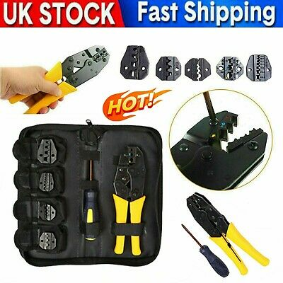 Ratchet Crimper Plier Crimping Tool Cable Wire Electrical Terminals Kit W/ 5 Jaw • 14.94£