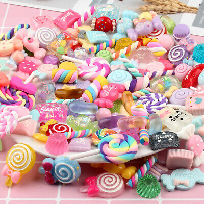 AU16.62 • Buy 100PCS Mixed Slime Charms Resin Bag Candy Sweets Beads Bead Making DIY Tools
