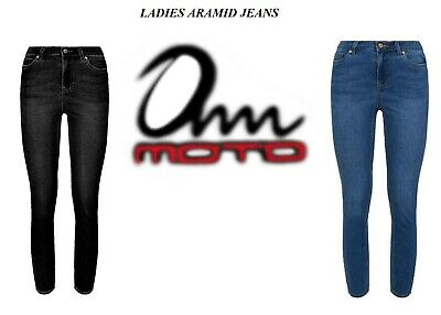 Women Motorcycle Jeans Motorbike Trousers Reinforced Aramid Protective Lining • 32.99£
