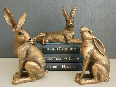 Set Of 3 Small Resin Hare Figures -  Bronze Finish Resin  • 26.95£