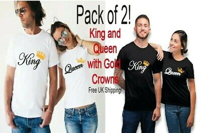 Pack Of 2 King And Queen Gold Crown Matching Couple Shirts His And Hers Tees • 13.50£