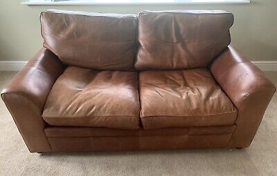 Halo Vintage Tanning Company Aniline Leather Sofa - Brown • 250£