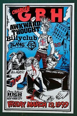 $20 • Buy Charged G.B.H Concert Poster Awkward Thought Billyclub Blanks 77 Punk U.K. NYHC