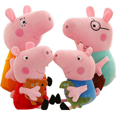 4PCS Peppa Pig Characters Soft Toys Daddy Mummy Peppa George Pig Stuffed Gifts • 12.99£