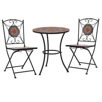 AU237.95 • Buy 3 Pcs Mosaic Bistro Set Iron Frame Garden Table And Chairs Patio Outdoor Setting