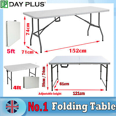 Folding Table 6ft Portable Camping 5ft Picnic Exhibitions BBQ Laptop Table Tray • 14.99£