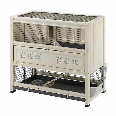Wooden Indoor Home Pine Rabbit Guinea Pig Hutch Cage 2 Levels / Tiers Pet House • 163.99£