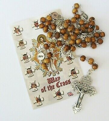 Way / Stations Of The Cross Olive Wood Chaplet With Leaflet And Pardon Crucifix • 12.99£