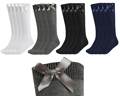 New Girls Up To 3 Pk Value Knee High Bow Detail Back 2 School Cotton Rich Socks • 3.90£
