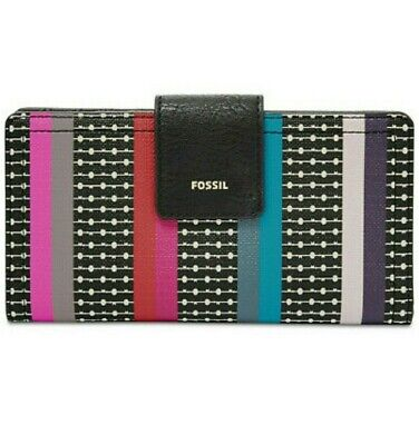 FOSSIL LOGAN RFID Tab CLUTCH WALLET COLORFUL STRIPES NEW • 25.88£