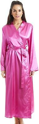 Camille Womens Long Satin Dressing Gown Robe - Various Colours Available • 24.99£