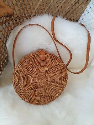 Womens Shoulder Bag Tan Leather Strap Woven Round Basket Bali Rattan Frugality  • 22£