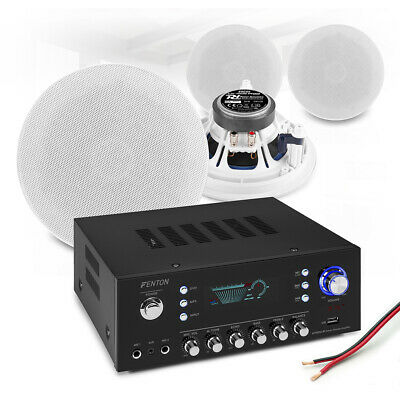 4x 5.25  Ceiling Speaker System With Bluetooth FM Amplifier Home HiFi Music Set • 199£