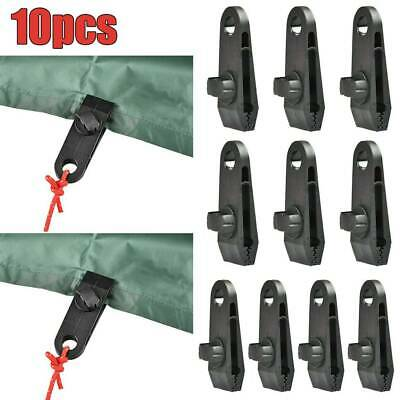 10 Pcs Reusable Camping Windproof Awning Clamp Tarp Clips Snap Hanger Tent UK • 7.59£