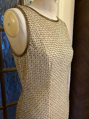 Vintage Opera At Richards Beaded Dress Size 12 Gold Champagne Art Deco Style • 75£