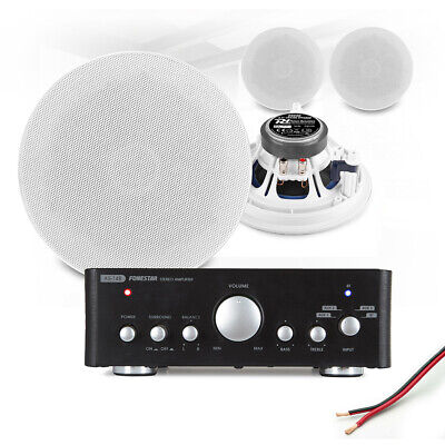4x 6  Ceiling Speaker System With Bluetooth Amplifier Home Audio Hi-Fi Music • 208.06£