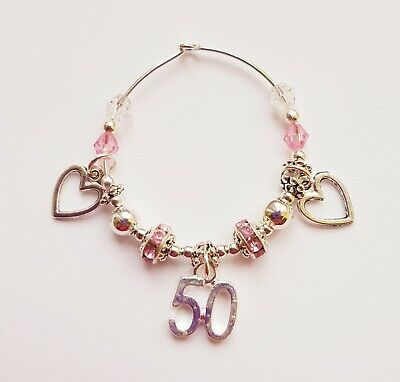 WINE GLASS CHARM 18th 21st 30th 40th 50th 60th SPARKLY PARTY GIFT Birthday • 2.75£