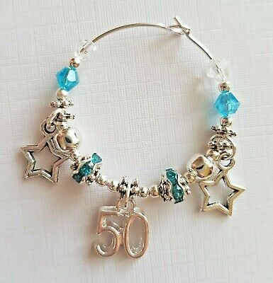 WINE GLASS CHARM 18th/21st/30th/40th 50th/16 SPARKLY PARTY GIFT Female Birthday • 2.75£