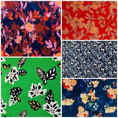 £7.95 • Buy 100% Viscose Fabric Floral Flowers Dressmaking Fabric Amazing Quality 58ins Wide