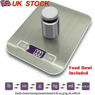 Digital Kitchen Scales 5kg Electronic LCD Display Balance Scale Food Weight Bowl • 7.95£