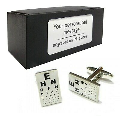Engraved Optician Eye Sight Chart CUFFLINKS Gift Dad Grandad Uncle ECF-031g • 14.59£