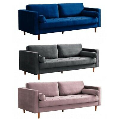 Scott Velvet Fabric 4+3+2+1 Corner Seater Sofas Grey Midnight Blush Sofa Set • 699.99£