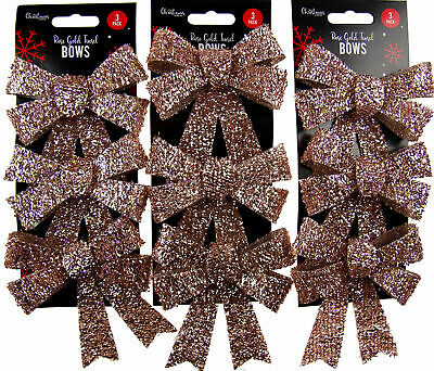 Set Of 9 Sparkling Tinsel Rose Gold Bow Christmas Tree Baubles Decorations • 6.99£