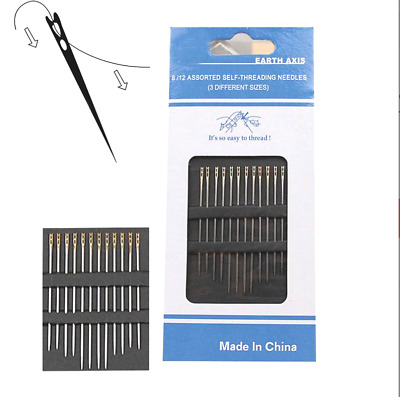 12 Self Threading Sewing Needles - Different Sizes Easy Thread Needle Uk Seller • 2.95£
