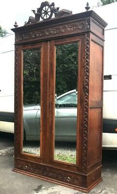 Antique Turn Of Cent. Continental Dutch Carved Oak Linen Press Armoire Wardrobe • 395£