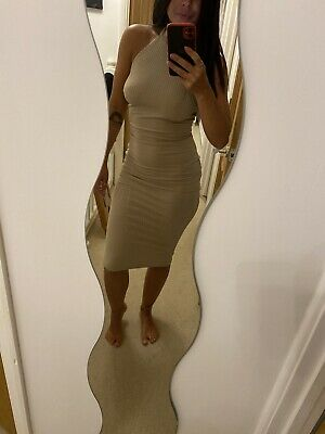Missguided Cream High Neck Low Back Dress Size 8 • 10£