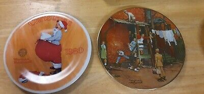 $ CDN32.73 • Buy Lot Of 2 Norman Rockwell Plates 1980 Scotty Plays Santa 1979 The Homecoming